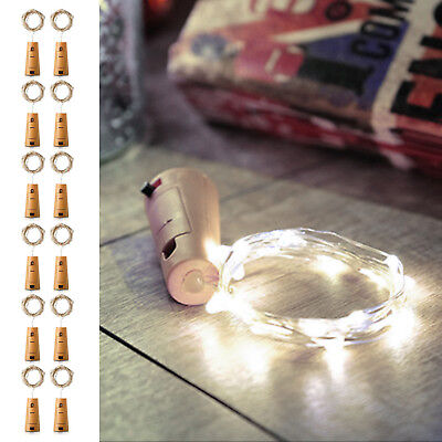 12Pcs 20 LED Wine Bottle Lights Copper Wire for Christmas Halloween Table Decor