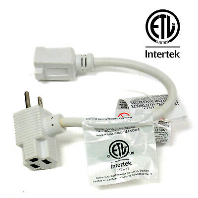 Premium 1 ft Extension Cord with Two Outlets ETL Listed Power Electric Cable