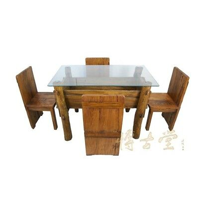 Chinese Antique Rustic Dining Table w/4 Chairs 21P66