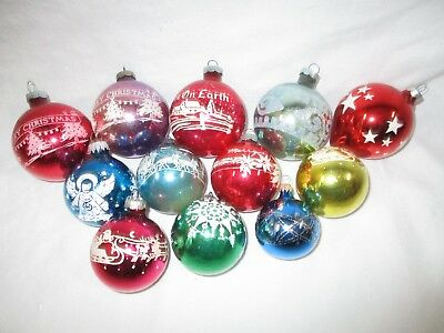 Lot 12 Vintage Mercury Glass Frosted Stencil Shiny Glitter Christmas Ornaments