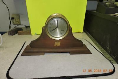 Vintage HOWARD MILLER Brass Ship's Clock Maritime W/ Stand Norwest Bank Adv