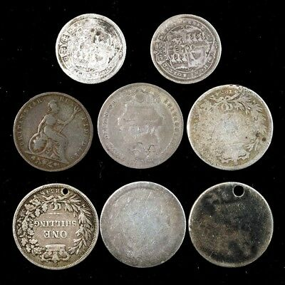 Lot of 8 Different Pre-Victoria Coins - Silver Shillings, 6 Pence & One Farthing