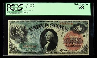 1869 $1 US Legal Tender Note - PCGS Currency Choice About New 58 - FR.18