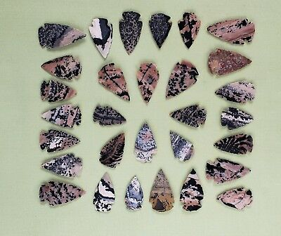 30 Piece Collection Hand Knapped Arrowheads Spearheads Leopard Pattern **look**
