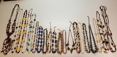 Mixed Colorful Beaded Necklaces 20 PCS Vintage Now Strand String Bead Chain MORE