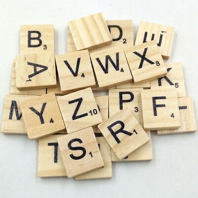 100X Wooden Scrabble Tiles Colorful Letters Numbers For Crafts Wood Alphabet Toy