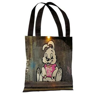 One Bella Casa 71822TT18P 18 in. Thug for Life Bunny Polyester Tote Bag by Ba...