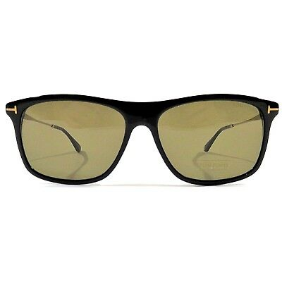 7aa620a102441 New Tom Ford Sunglasses Max-02 TF 588 01E Shiny Black Frame Brown Lens 57