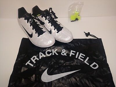 new style a272e 54d20 Mens Nike Zoom Maxcat 4 Track Shoes Running Spike White Black Sz 10.5 549150 -107