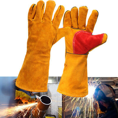 Pair 16'' Heavy Duty Lined Reinforced Palm Welding Gauntlets Welder Labor Gloves
