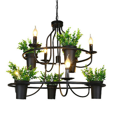 Industrial Vintage Wrought Iron Pendant Light Ceiling Lamp Hemp plant Chandelier