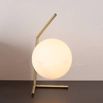 Modern Ball Round Glass LED Floor Table Desk Lighting Light Lamp White Hot