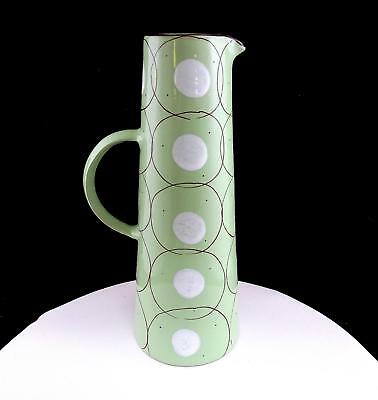 "Synergy Designs Hungary Art Pottery Green With White Dots 11 5/8"" Pitcher"