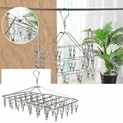 35Pegs Dryer Rack Stainless Steel Foldable Sock Clothes Airer Hanger Clip Clamp