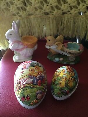 Easter Primitive Vintage Looking Gathering Lot Of 4 Bunny Chick Eggs Decor