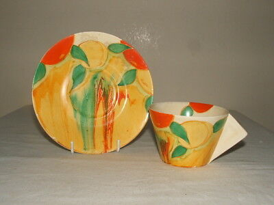 Clarice Cliff Art Deco Bizarre Delecia Peaches Conical Cup & Saucer  Stunning