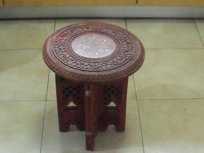 """Vintage wood coffee table 12"""" Asian Islamic India Antique style wooden carved ZV"""