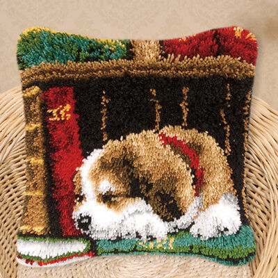 Sleeping Dog Latch Hook Kits Cushion Cover Craft Embroidery Valentine's Gift
