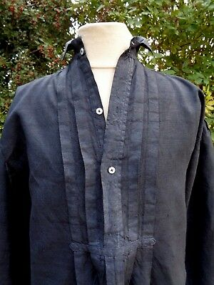 ANTIQUE FRENCH LINEN SHIRT TUNIC HAND DYED BLACK WORK SMOCK 19th