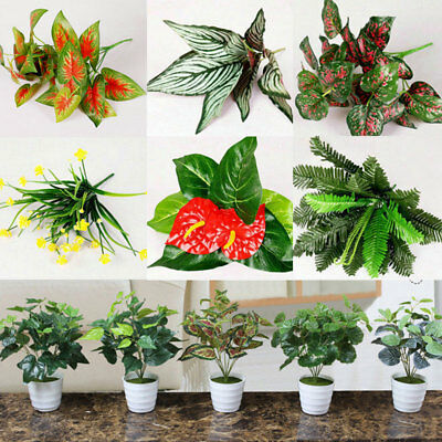New Indoor Outdoor Simulation Fake Leaf Flowers Plants Plastic Artificial Office