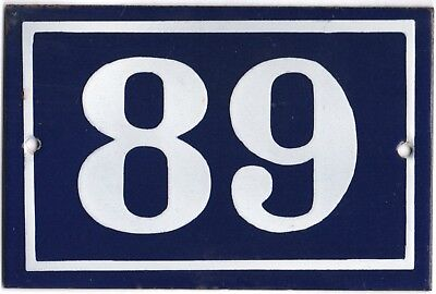 Old blue French house number 89 door gate plate plaque enamel steel metal sign