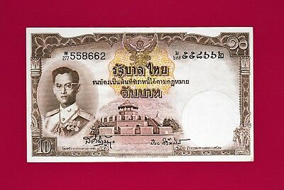 ULTRA-RARE Thailand Banknote: 10 Baht 1955 (P-76) - Very-Fine Collectible Note