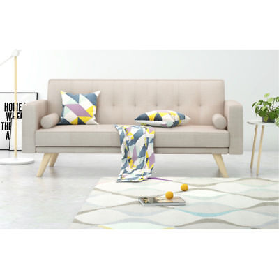Awesome Modern 3 Seater Fabric Sofa Bed Beige With Cushions Wood Uwap Interior Chair Design Uwaporg