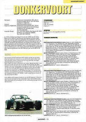 2000 Donkervoort D8 D20 (Dutch, 1pg.) Autotest Report (AAD.415)