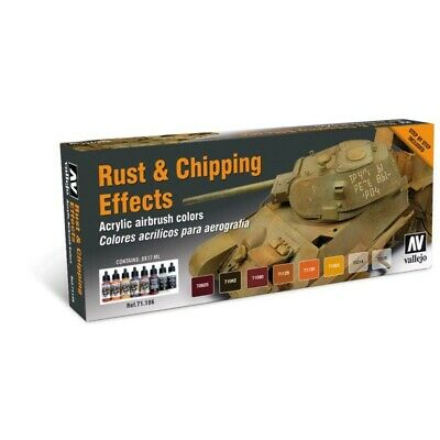 (15,49€/100ml) Vallejo Farben Set Rust Chipping Effects 8x Model Air Rost Abplat