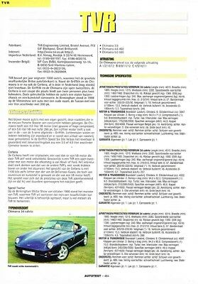 2000 TVR Chimaera Griffith Cerbera (Dutch, 1pg.) Autotest Report (AAD.431)