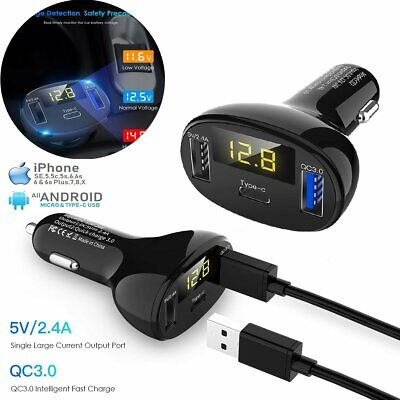 QC3.0 Quick Charge Type-C+Dual USB LED Display Fast Car Charger Outlet Adapter