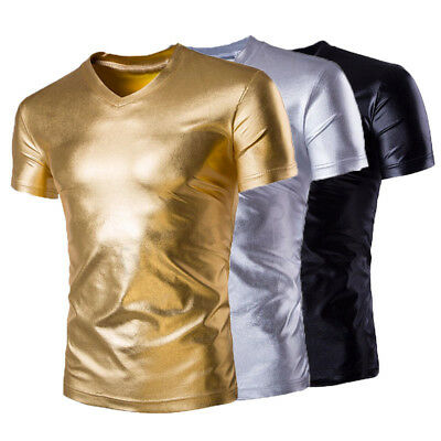 Mens Slim Fit Muscle  V-neck T-shirts Short Sleeve Casual Gym Shinny Tops Shirts