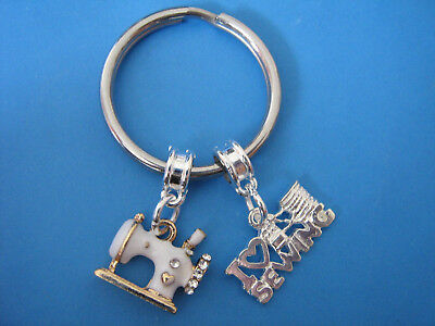 Sewing Keyring Seamstress Thread Needle Sewing Machine Charms Dressmakers Gift