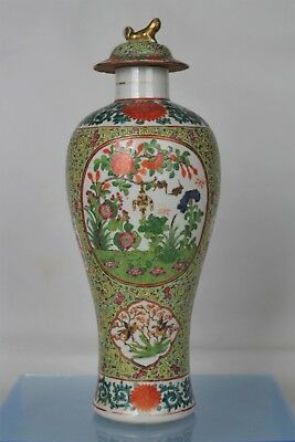 Beautiful Antique Chinese Finely Hand-painted Famille Vert Lidded Vase (32cm)