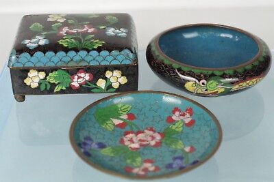 Three Fine Antique Chinese Cloisonne Items: Lidded Box, Dragon Bowl and Saucer