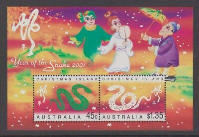 Christmas Island 2001 Year of the Snake Mint unhinged mini sheet