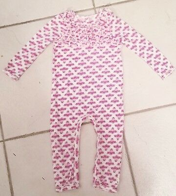 7b4d6057bd01 Girls Burts Bees Baby Organic Cotton Jumpsuit With Ruffled Front Size 18  Months