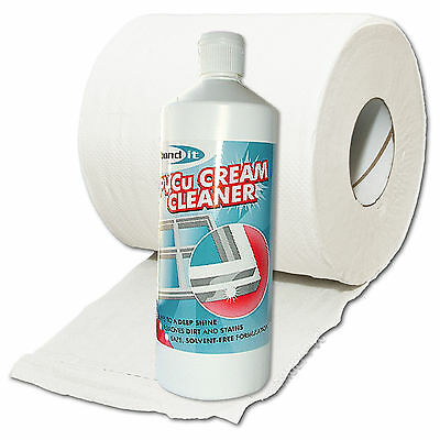 Upvc Window Cleaning Bundle - Cream Cleaner & Tissue Roll Removes Stubborn Marks