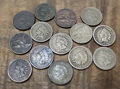 1857 Flying Eagle One Cent 1859 Indian Head Cent Lot Of 14 Mixed Dates US Coins