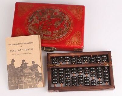Rare Chinese Red Leather Wood Box Abacus Painting Dragon Phoenix Collection Gift