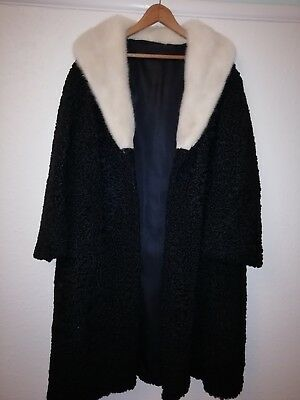 SUPERB vintage ladies coat BLACK ASTRAKHAN REAL WHITE MINK FUR COLLAR SIZE14-16-