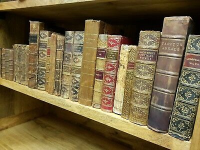 19th Century ANTIQUARIAN BOOK JOBLOT Collection LEATHER Calf GILT Antique LOT. 2