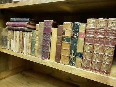 19th Century ANTIQUARIAN BOOK JOBLOT Collection LEATHER Calf GILT Antique LOT. 1