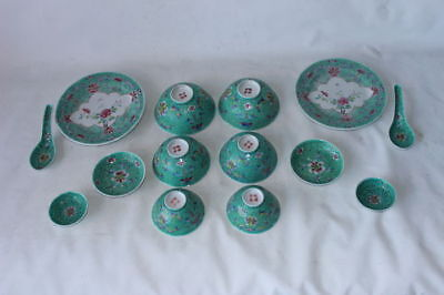 Tête-à-tête Chinese porcelain pottery set signed marked republic famille rose