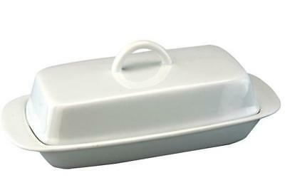 Apollo White Ceramic Butter Dish with Lid