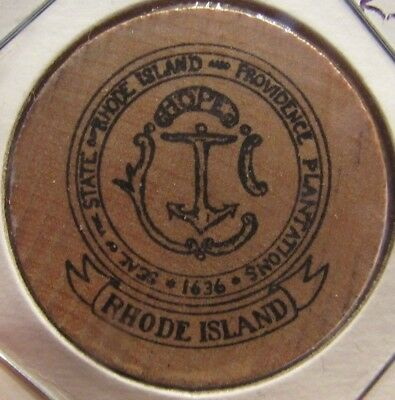 Vintage Seal of the State of Rhode Island Wooden Nickel - Token RI