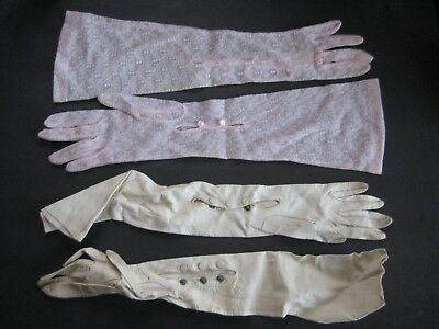Two Pairs Of Ladie's Formal Wear Gloves - Pink Nylon & White Kid Leather
