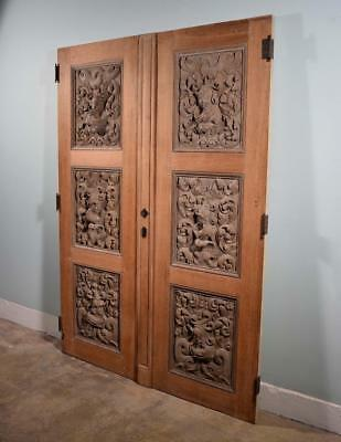 """*87"""" Tall Pair of French Antique Doors Highly Carved w/Soldiers and Dolphins"""