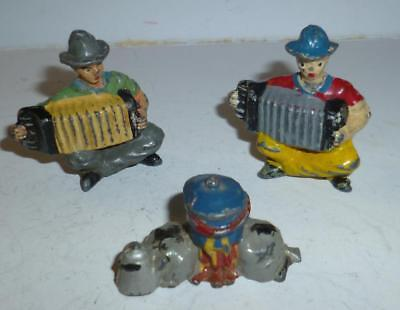 Timpo Vintage Lead Wild West Cowboys Playing Accordians From The 1940/50's