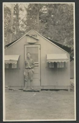 c.1917-19 WWI Era RPPC Real Photo Postcard SOLDIER IN FRONT OF MILITARY TENT